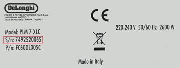 Codice Seriale prodotto
